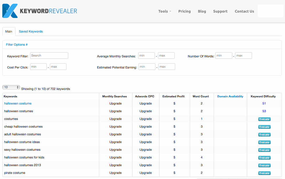 keyword revealer screenshot