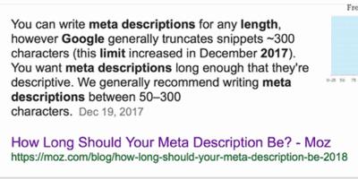 meta descriptions length