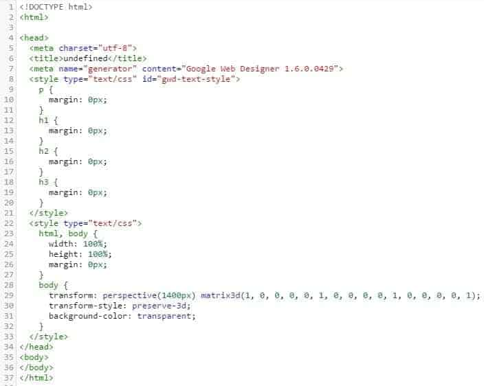 헤딩 태그(H 태그)를 포함한 HTML 코드 예시