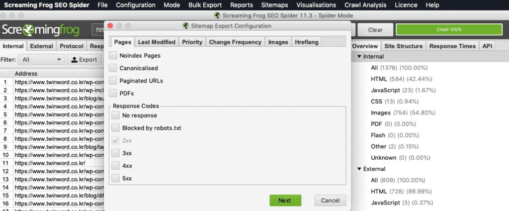 Screaming frog sitemap generation function