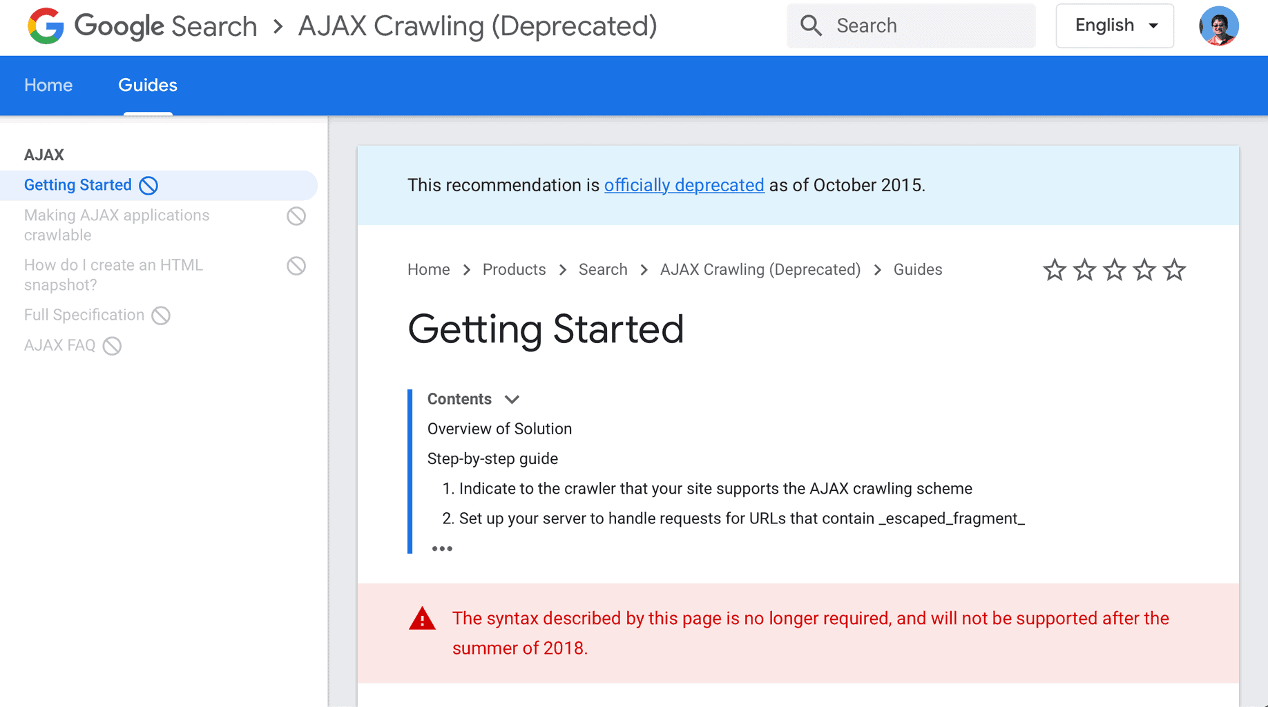Deprecated Ajax Scheme