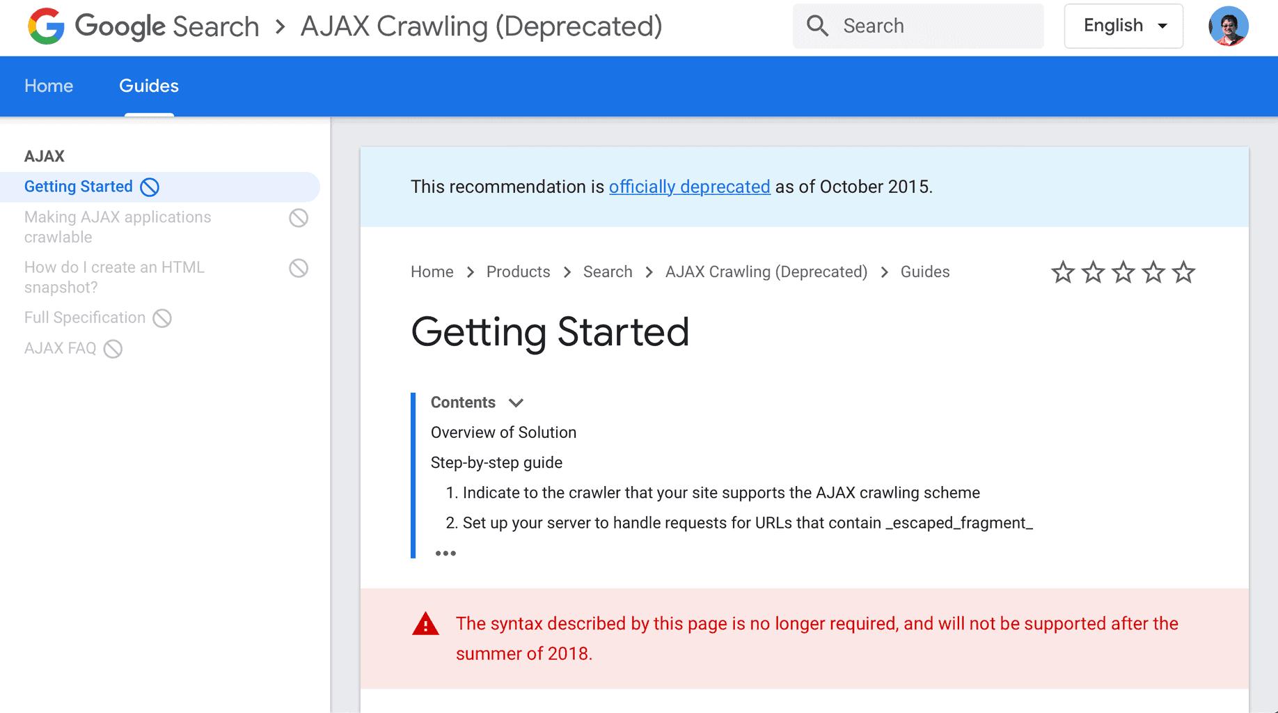 Deprecated Ajax Scheme