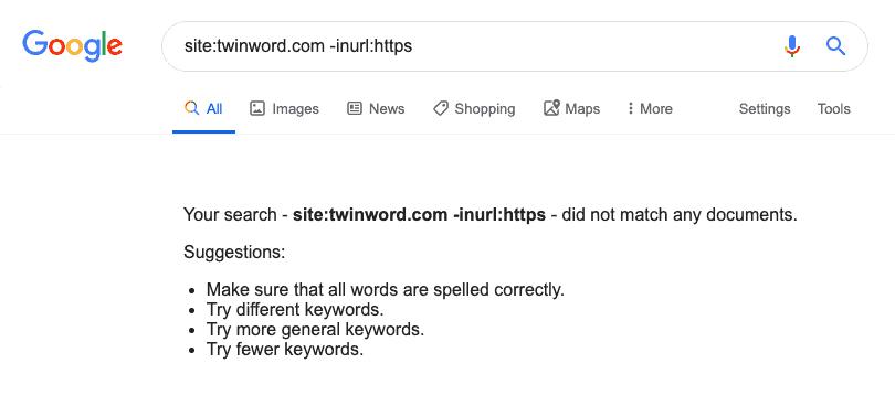 검색 연산자를 이용해서 보안 프로토콜이 적용되지 않은 페이지 찾는 방법 구글 검색 결과 예시