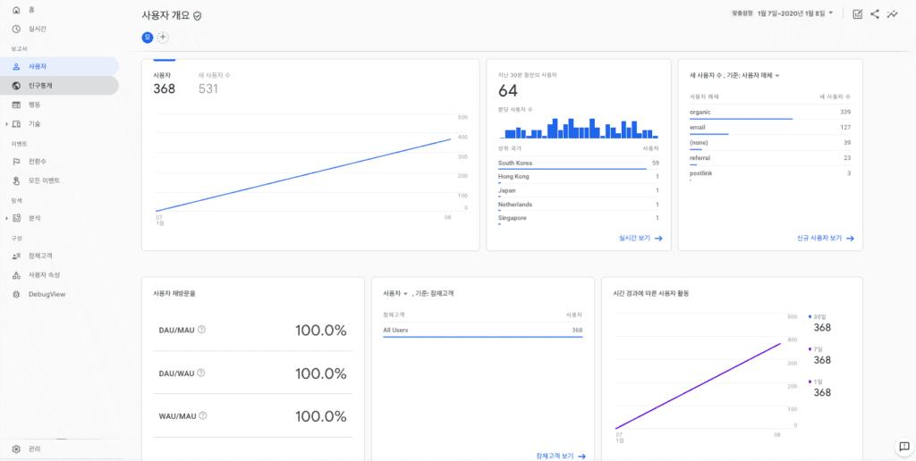 구글 애널리틱스 앱+웹 속성 인터페이스