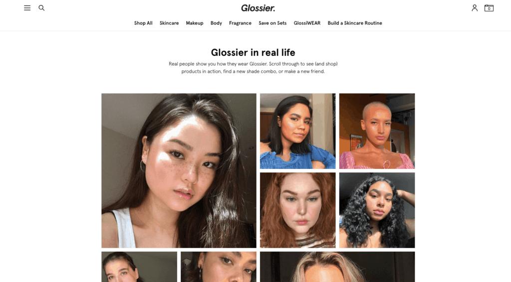 Glossier 고객리뷰 페이지