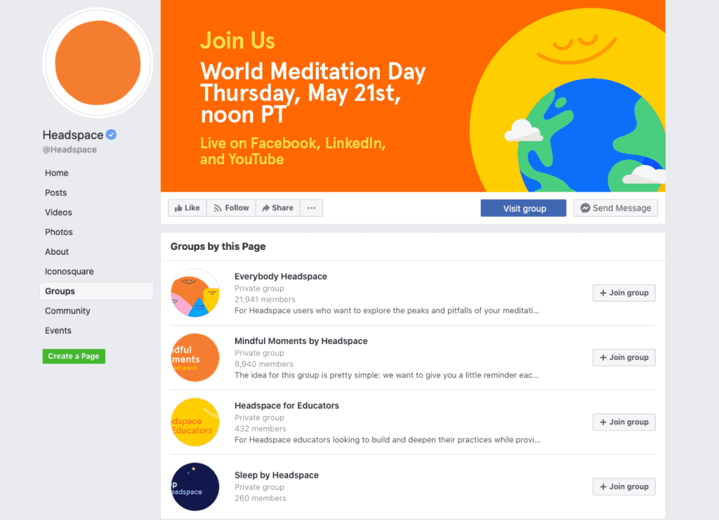 Headspace Facebook private groups
